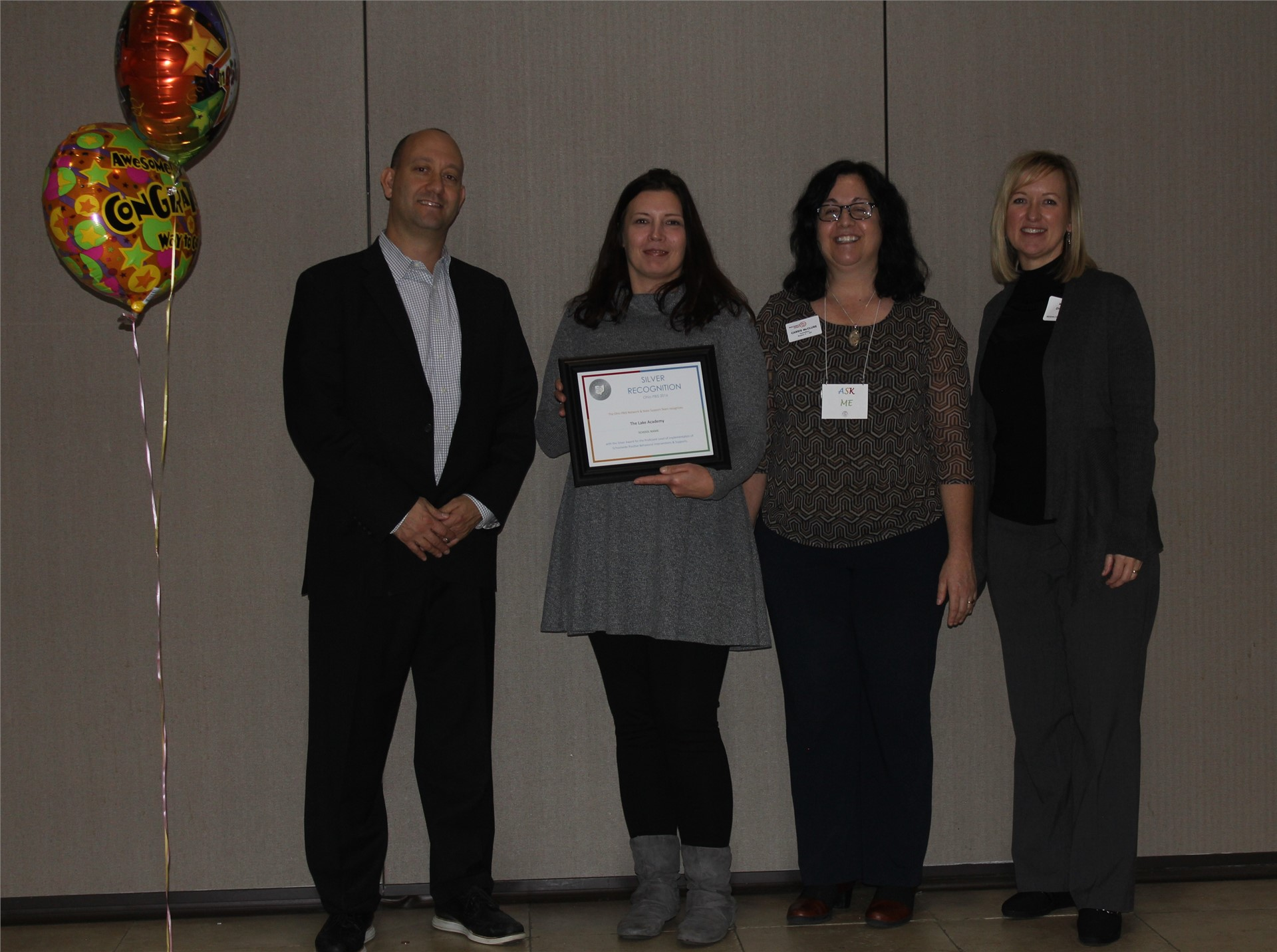 The Lake Academy received the Silver Recognition at the Ohio PBIS 2016