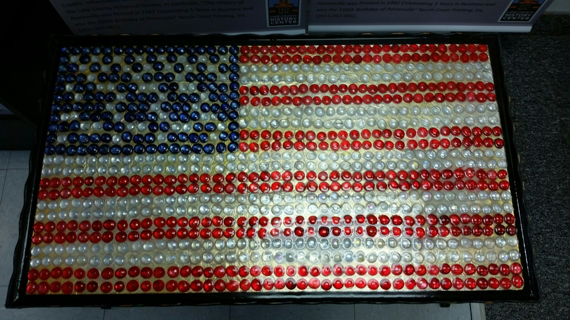 Beaded flag table