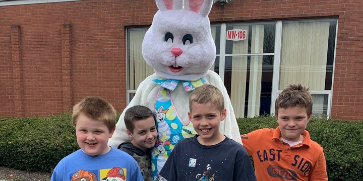 Easter Bunny with four students