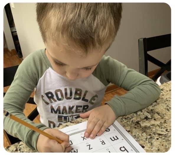 Student doing letter matching
