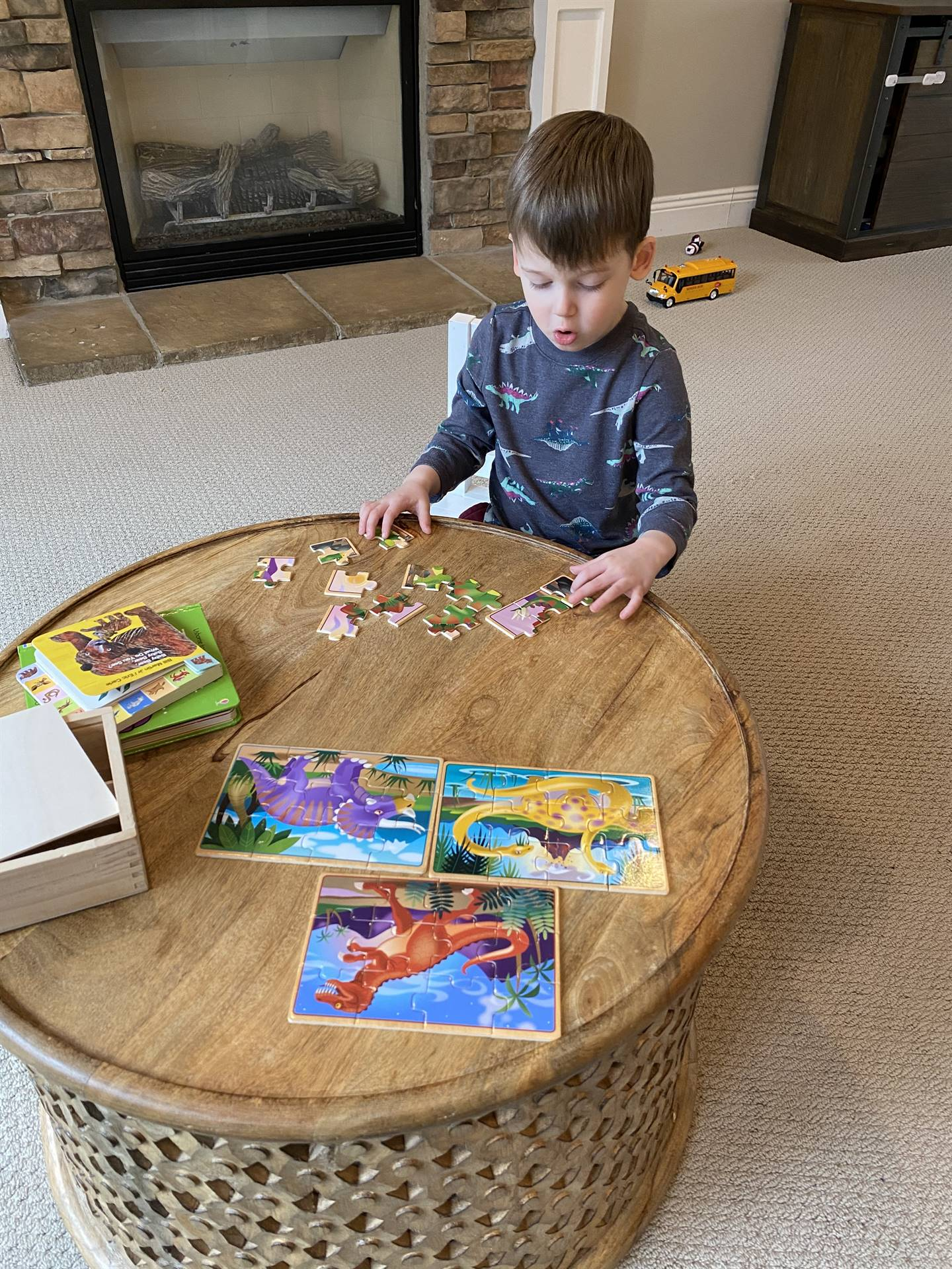 Child working on a puzzle