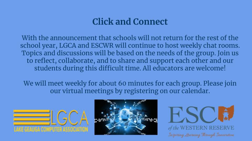Click and Connect Events are scheduled for the remainder of this school year
