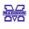 Madison Local Schools logo a white M outlined in royal blue with the word Madison across it