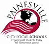 Painesville City Schools Logo - a black and white globe encompassed in a red and white banner