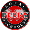 Perry Schools logo, a red globe encompassed by a black circle